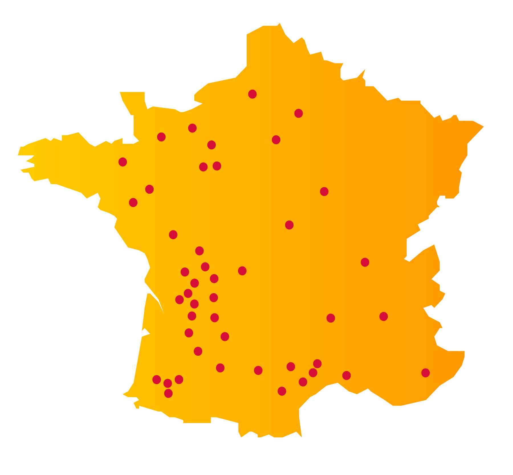 Carte des implantations de centrales DEFISOLAR